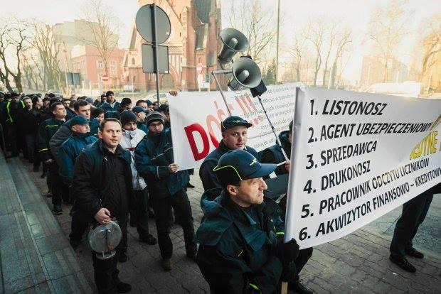 Lenkijos paštininkai protestuoja