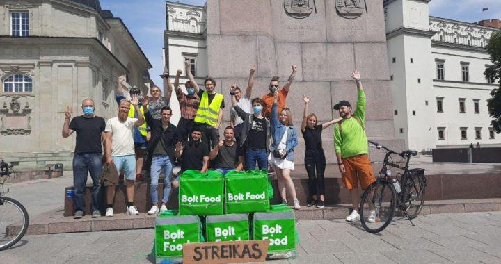 """300 eurų per mėnesį už pilną etatą, arba Kodėl streikuoja """"Bolt Food"""" kurjeriai?"""