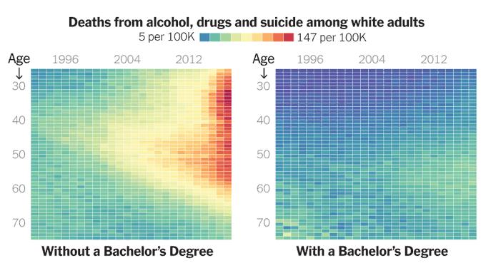 Mirčių iš nevilties (nuo alkoholio, narkotikų, savižudybių) augimo statistika JAV tarp baltaodžių suaugusiųjų, su bakalauro diplomais ir be jų. Vertikali ašis - amžius, horizontali - metai. Grupėje su diblomais jų skaičius pastaraisiais metais daugelyje amžiaus grupių siekia 147 iš 100 tūkst. Tarp žmonių su diplomais šis skaičius gerokai mažesni.
