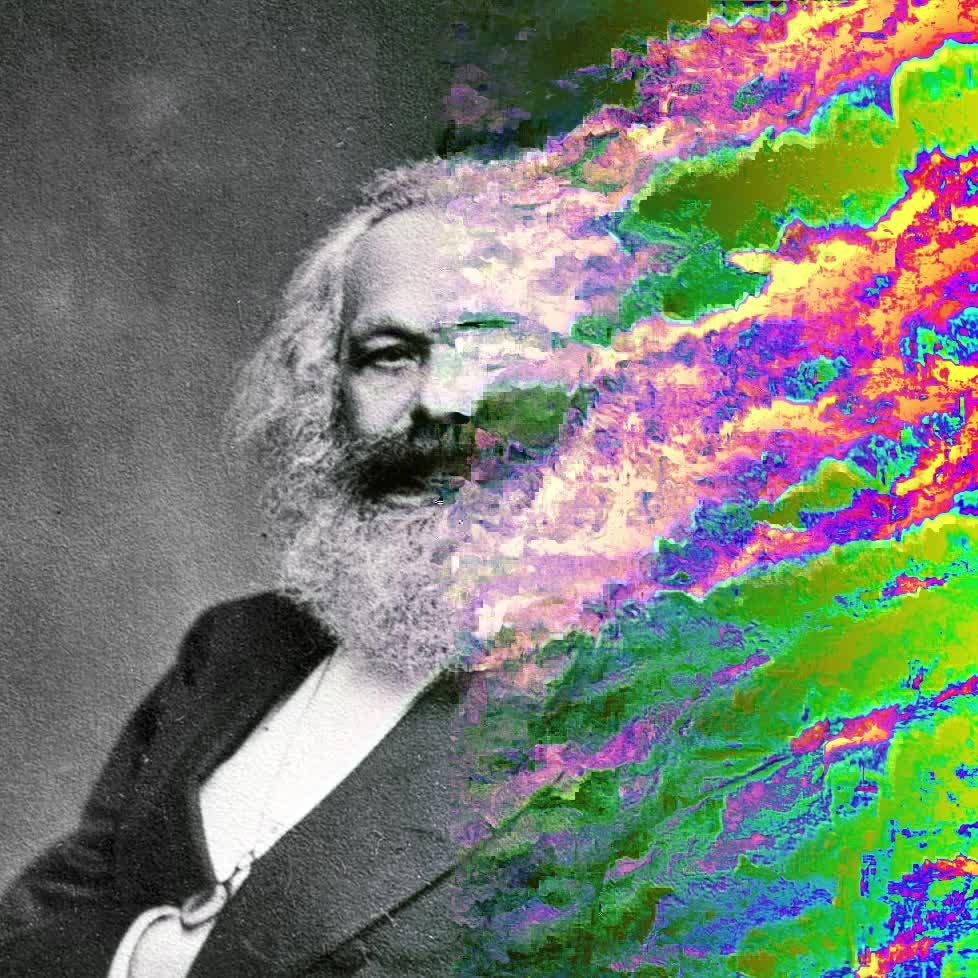 Karlo Marxo portretas, tik dalis jo išsiliejusi psichodelinėmis spalvomis