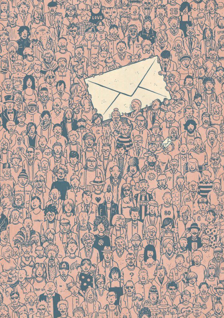 Piešinyje pavaizduota minia žmonių laikanti milžinišką laišką.