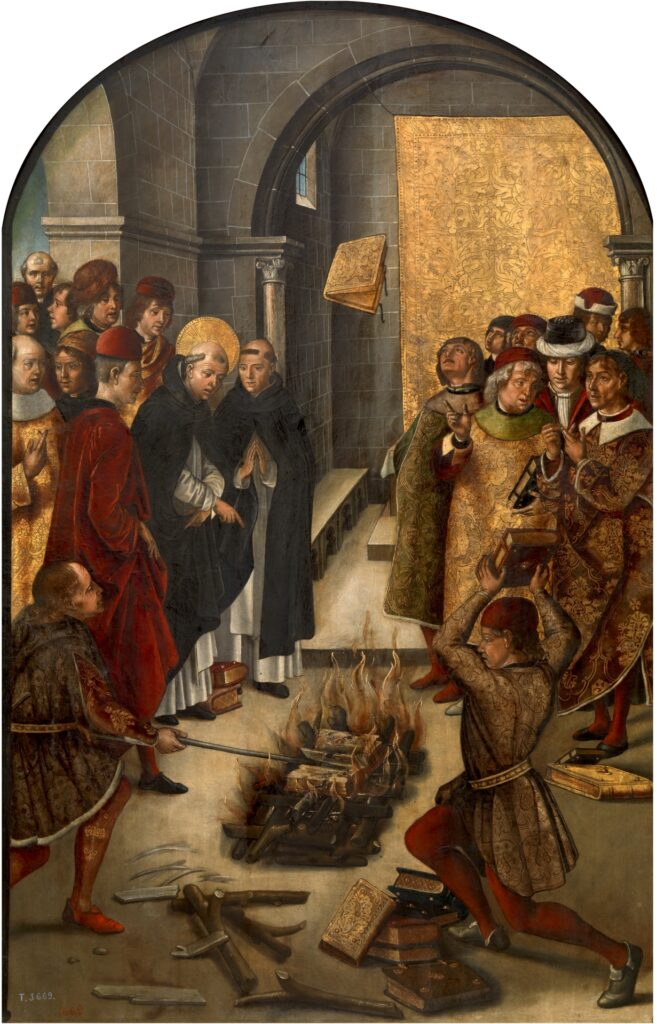 Pedro Berruguete paveikslas: kunigai degina knygas