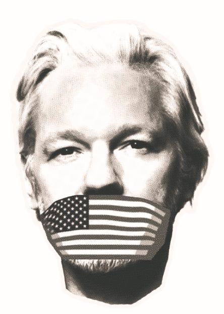 Juliano Assange'o portretas su užrišta burna